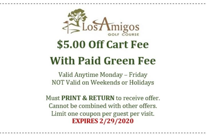 $5.00 Off Cart Fee